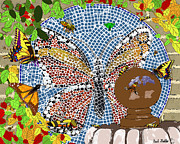 Mosaic Mixed Media - Butterflies and Bees by Paul Fields