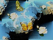 Blooms  Butterflies Framed Prints - Butterflies and Roses Framed Print by Maria Urso