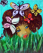 Grass Reliefs Metal Prints - Butterflies At Play Metal Print by Ohso Faboolus