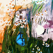 Butterflies Mixed Media - Butterflies in Chamomile by Ginette Callaway