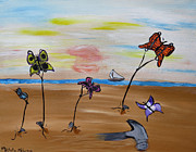 Hammer Paintings - Butterflies In The Sand by Michelle Milano