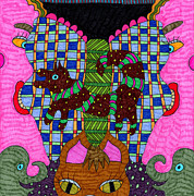 Cats Tapestries - Textiles Posters - Butterfly 3 Poster by Therese May