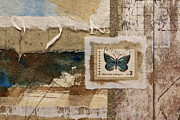 Postage Stamps Prints - Butterfly and Blue Collage Print by Carol Leigh