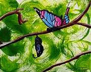 Fantasy Tree Art Print Posters - Butterfly and Cocoon Poster by Jayne Kerr