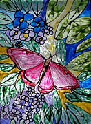 Garden Glass Art Framed Prints - Butterfly and Flowers Framed Print by Chris Oldacre
