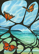 Surf Art Framed Prints - Butterfly Beach Framed Print by Harry Holiday