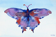 Girls Room Prints - Butterfly Blue and Red Watercolor Painting Print by Beverly Brown Prints