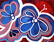 Folk Art Posters - Butterfly Blues Poster by Cindy Davis