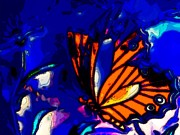 Royal Art Mixed Media Prints - Butterfly Blues  Print by Michelle Stradford