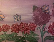 Phlox Painting Prints - Butterfly Bush and Phlox Print by Toni  Di Nuzzo
