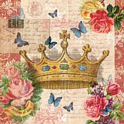 Love Letter Mixed Media Prints - Butterfly Crown Print by Lulu Loves