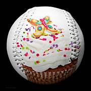 Baseball Art Posters - Butterfly Cupcake Baseball Square Poster by Andee Photography