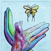Hand Signs Mixed Media Posters - Butterfly Poster by Eloise Schneider