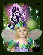 Flower Pink Fairy Child Mixed Media Metal Prints - Butterfly Fairy Metal Print by Ellen Henneke