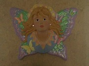 Fantasy Ceramics Acrylic Prints - Butterfly fairy in 3-d Acrylic Print by Rachel Eckert