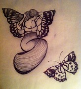 Curvy Drawings Posters - Butterfly Fairy Poster by Mary Clare Castor