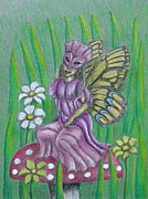 Fantasy Pastels Metal Prints - Butterfly Fairy Metal Print by Thuraya R