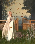 Garden Scene Digital Art Posters - Butterfly Garden Bride - 1 Poster by Fairy Fantasies