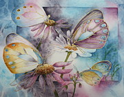Garden Scene Paintings - Butterfly Garden by Patsy Sharpe
