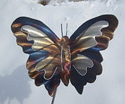 Lawn Art Sculpture Posters - Butterfly Garden Sculpture Poster by Robert Blackwell
