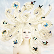 Blonde Digital Art Posters - Butterfly girl Poster by Linda Lees