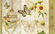 Floral Print Painting Posters - Butterfly Green Collage Poster by Grace Pullen