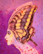 Sue Halstenberg Acrylic Prints - Butterfly Headdress Acrylic Print by Sue Halstenberg