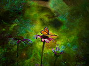 Butterfly Digital Art Posters - Butterfly In An Ethereal World Poster by J Larry Walker