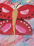 Controlled Painting Prints - Butterfly Julie Print by PainterArtist FINs daughter SKIPPER