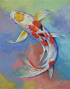 Asian Artist Posters - Butterfly Koi Fish Poster by Michael Creese