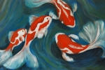 Nancy Bradley Painting Originals - Butterfly Koi by Nancy Bradley