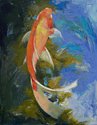 Asian Artist Posters - Butterfly Koi Painting Poster by Michael Creese