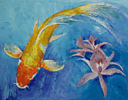 Japanese Koi Prints - Butterfly Koi with Orchids Print by Michael Creese