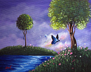 Purple Heart Painting Posters - Butterfly Lake by Shawna Erback Poster by Shawna Erback