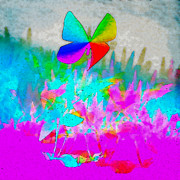 Pond Greeting Cards Digital Art - Butterfly Landing by Frank Bright