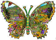Butterfly Meadow Green Print by Alixandra Mullins