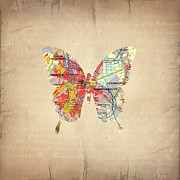 America City Map Prints - Butterfly - Mexico Print by Steffi Louis