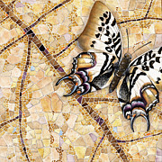 Valuable Painting Prints - Butterfly mosaic 01 Elena Yakubovich Print by Elena Yakubovich