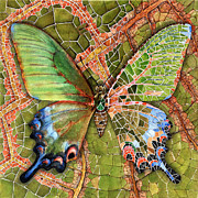 Female Fairy Abstract Prints - BUTTERFLY MOSAIC 03 Elena Yakubovich Print by Elena Yakubovich