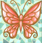 Stained Glass Mosaic Framed Prints - Butterfly Mosaic Framed Print by Elaina  Wagner