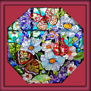 Featured Glass Art Prints - Butterfly Octagon Stained Glass Window Print by Thomas Woolworth