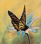 Insect Pastels Posters - Butterfly on Flower Poster by Michelle Miron