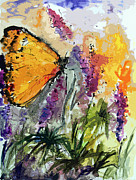 Insects Mixed Media Metal Prints - Butterfly on Lupines Metal Print by Ginette Callaway