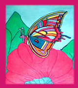 Butterfly On Pink Flower Print by Claire Decker