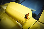 Blue Car. Prints - Butterfly on sports car mirror Print by Elena Elisseeva