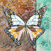 Licensed Paintings - Butterfly Pattern Whimsical Design Painting Daisies Flowers FLY AWAY by MADART by Megan Duncanson