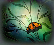 Animal Mixed Media Metal Prints - Butterfly Pause V1 Metal Print by Bedros Awak
