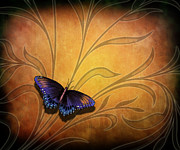 Insects Mixed Media Metal Prints - Butterfly Pause V2 Metal Print by Bedros Awak