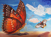 Mesoamerican Paintings - Butterfly paysage 5 by Art Ina Pavelescu
