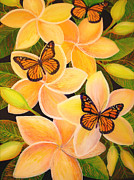 Foliage Glass Art Prints - Butterfly Plumeria Print by Anna Skaradzinska